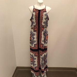 Dressbarn Printed Sleeveless Textured Maxi Dress